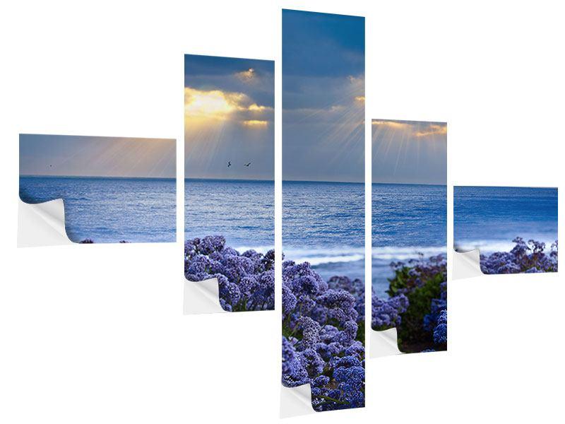 Klebeposter 5-teilig modern Der Lavendel und das Meer