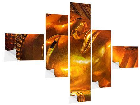 Klebeposter 5-teilig modern Liegender Buddha