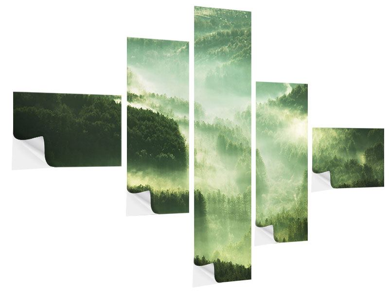 Klebeposter 5-teilig modern Über den Wäldern