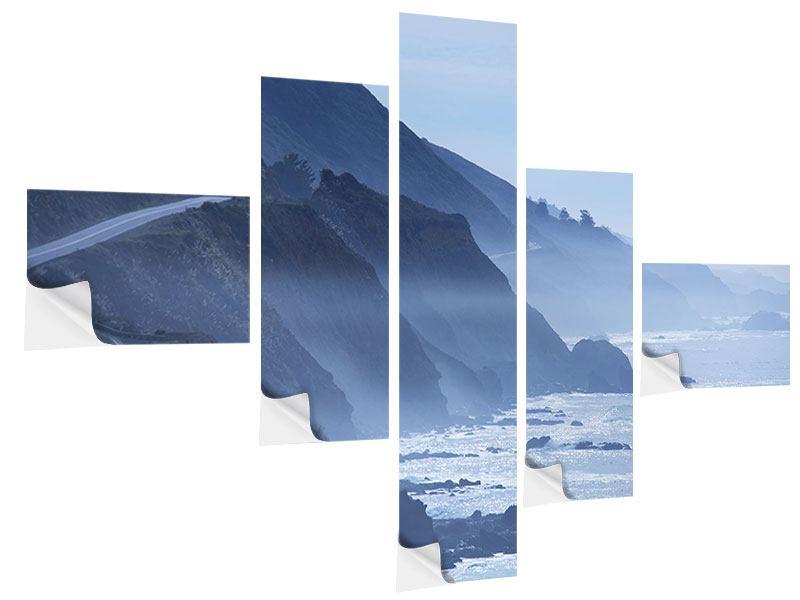 Klebeposter 5-teilig modern Bewegung im Wasser