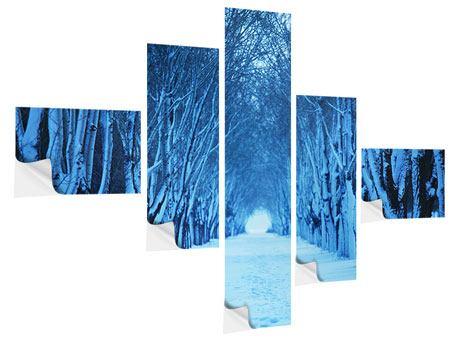 Klebeposter 5-teilig modern Winterbäume