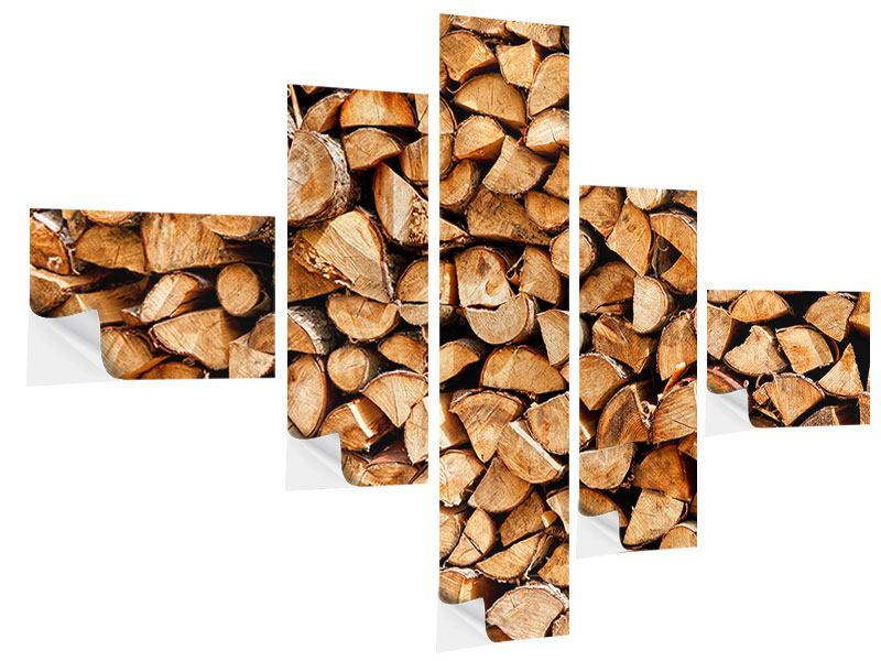 Klebeposter 5-teilig modern Gestapeltes Holz