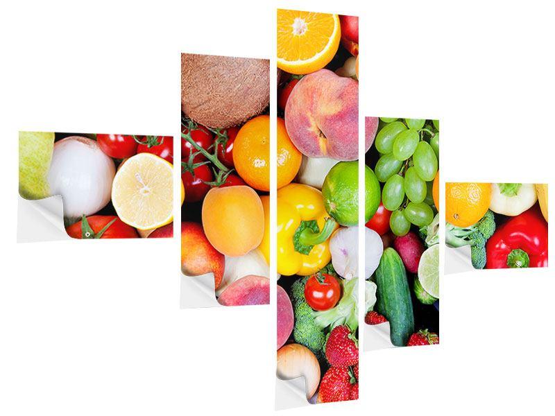 Klebeposter 5-teilig modern Frisches Obst