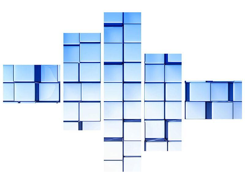 Klebeposter 5-teilig modern 3D-Symetrie