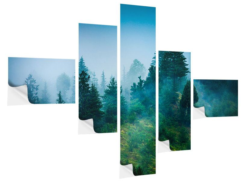 Modern 5 Piece Self-Adhesive Poster Mysterious Forest