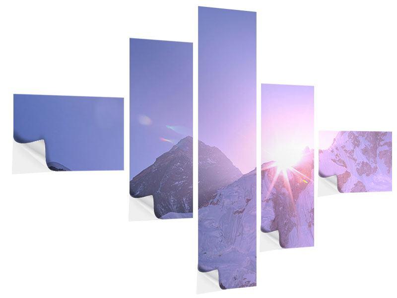 Klebeposter 5-teilig modern Sonnenaufgang beim Mount Everest