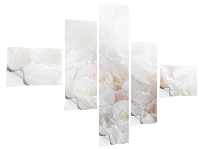 Klebeposter 5-teilig modern Weisse Rosen im Morgentau