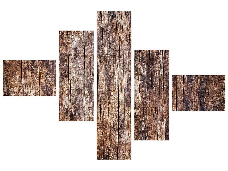 Klebeposter 5-teilig modern Retro-Holz