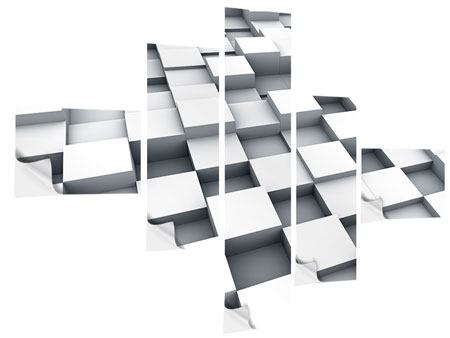 Klebeposter 5-teilig modern 3D-Kubus