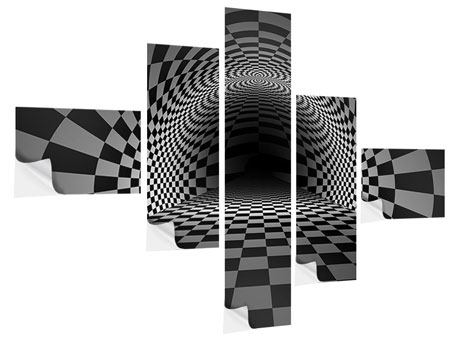 Klebeposter 5-teilig modern Abstraktes Schachbrett