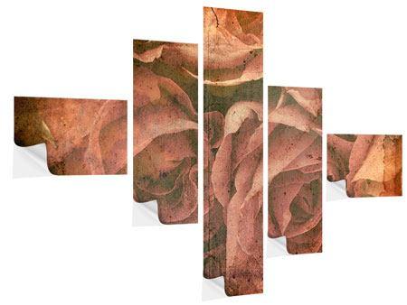 Klebeposter 5-teilig modern Rosenbukett