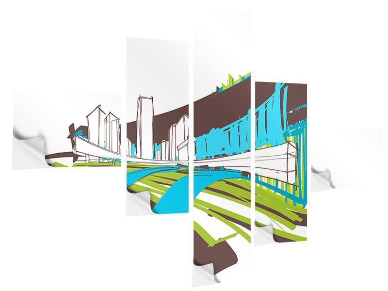 Klebeposter 5-teilig modern Graffiti Street-Art