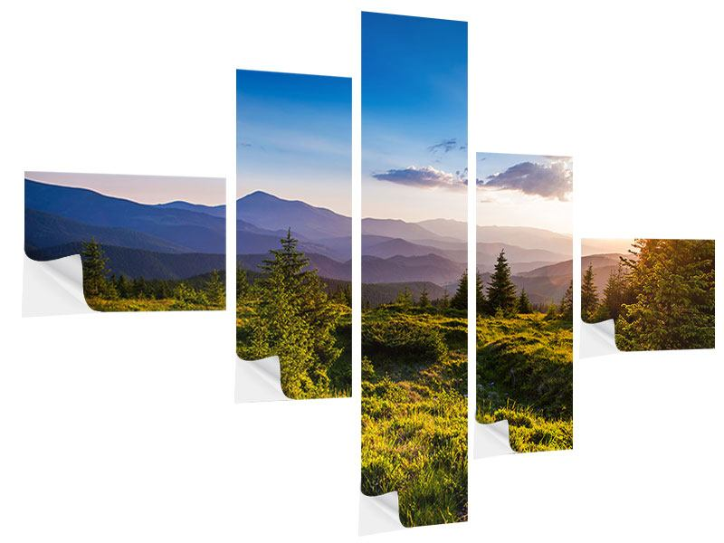 Klebeposter 5-teilig modern Friedliche Landschaft