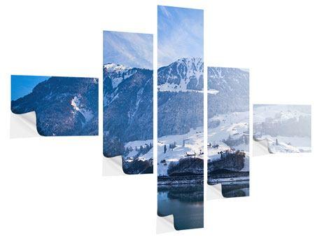 Klebeposter 5-teilig modern Winterwunderland