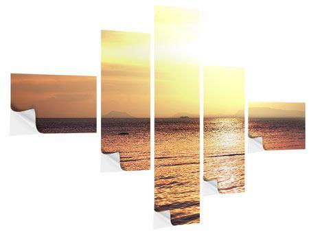 Klebeposter 5-teilig modern Sonnenuntergang an der See