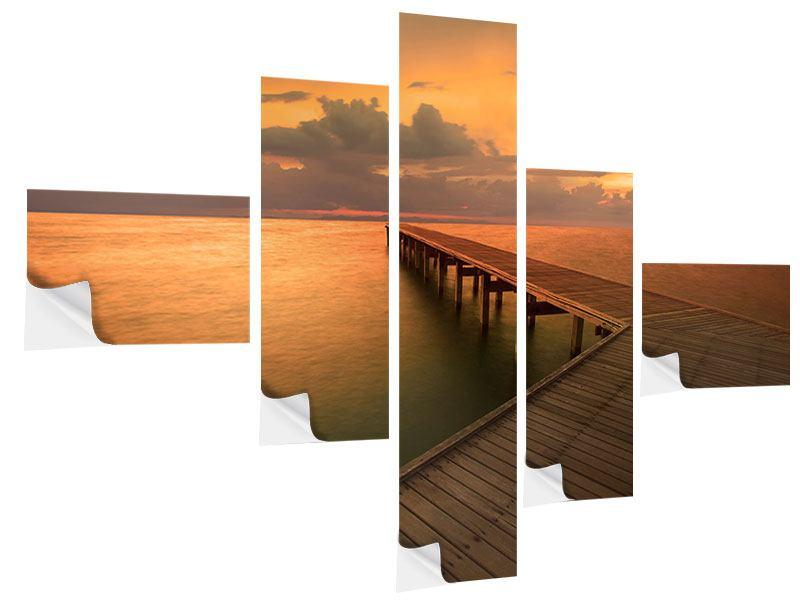 Klebeposter 5-teilig modern Der Steg am Meer