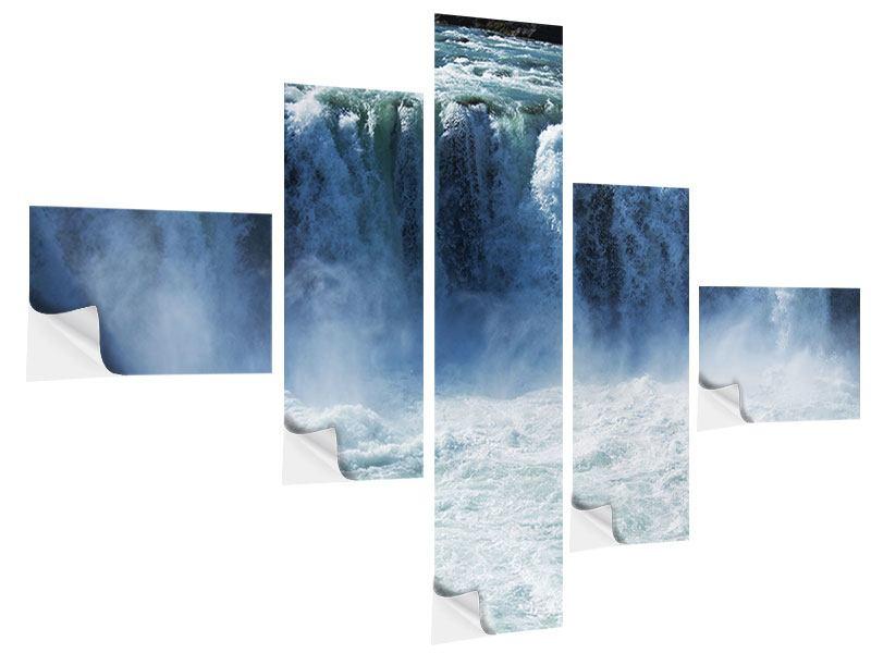 Klebeposter 5-teilig modern Mächtiger Wasserfall