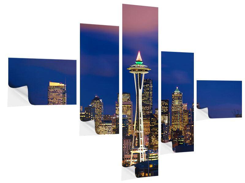 Klebeposter 5-teilig modern Skyline Seattle