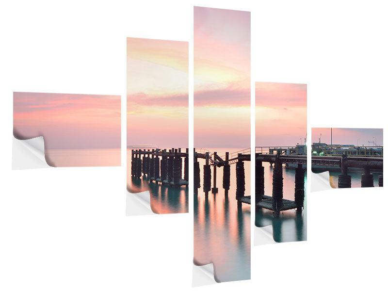 Klebeposter 5-teilig modern Der beruhigende Sonnenuntergang