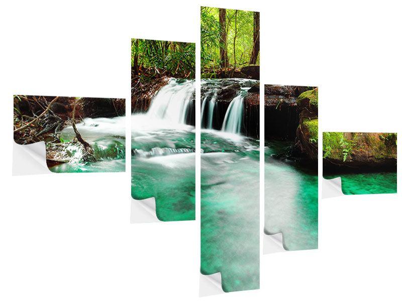 Klebeposter 5-teilig modern Der Fluss am Wasserfall