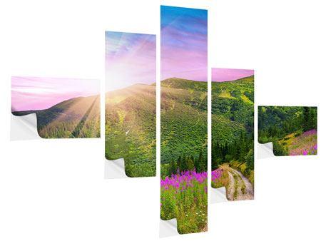 Klebeposter 5-teilig modern Eine Sommerlandschaft bei Sonnenaufgang