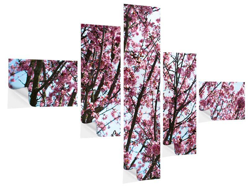 Klebeposter 5-teilig modern Japanische Blütenkirsche