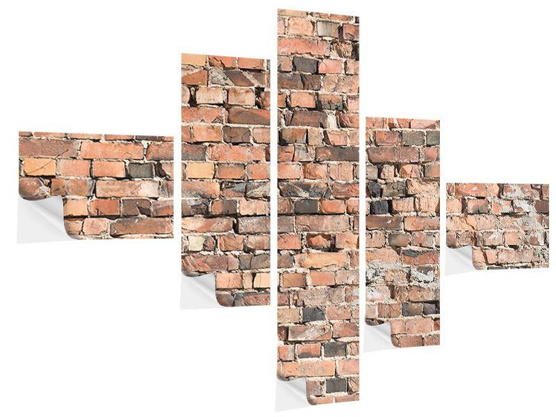 Klebeposter 5-teilig modern Alte Backsteinmauer