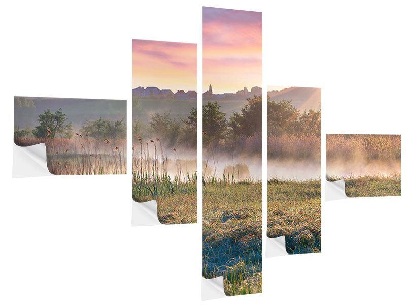 Klebeposter 5-teilig modern Sonnenuntergang am Hügel