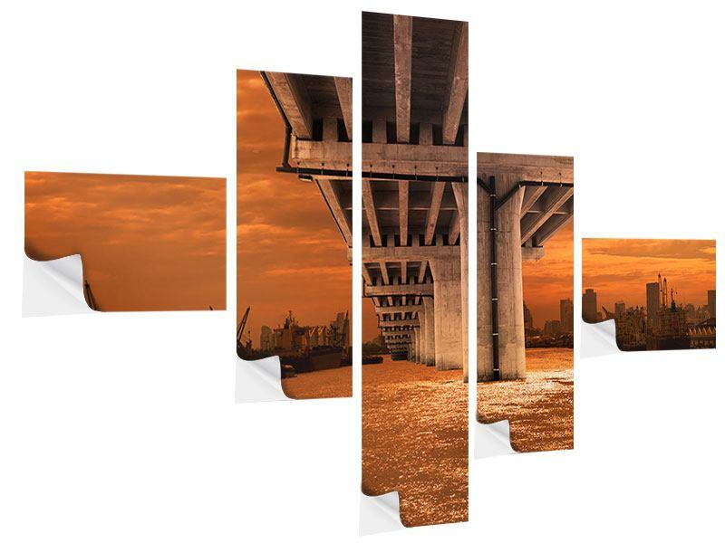 Klebeposter 5-teilig modern Die Brücke
