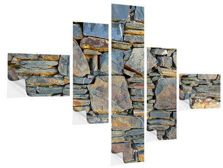 Klebeposter 5-teilig modern Natürliche Steinmauer