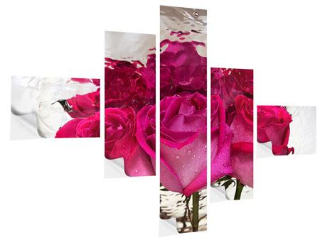 Klebeposter 5-teilig modern Die Rosenspiegelung