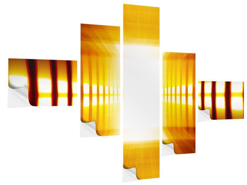 Klebeposter 5-teilig modern Abstrakter Goldener Raum