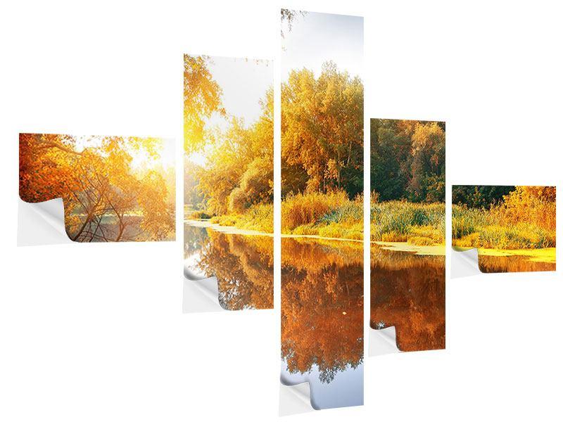 Klebeposter 5-teilig modern Waldspiegelung im Wasser