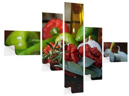 Klebeposter 5-teilig modern Mediterranes Gemüse
