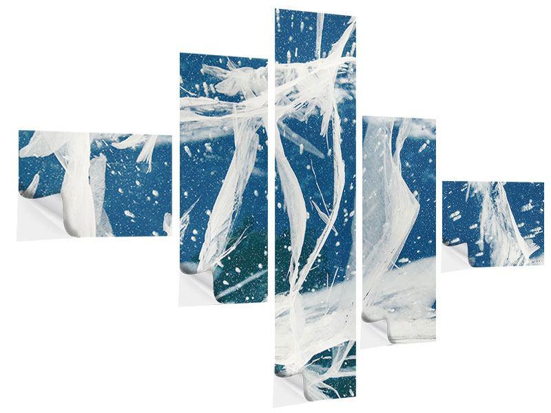 Klebeposter 5-teilig modern Eiskristalle