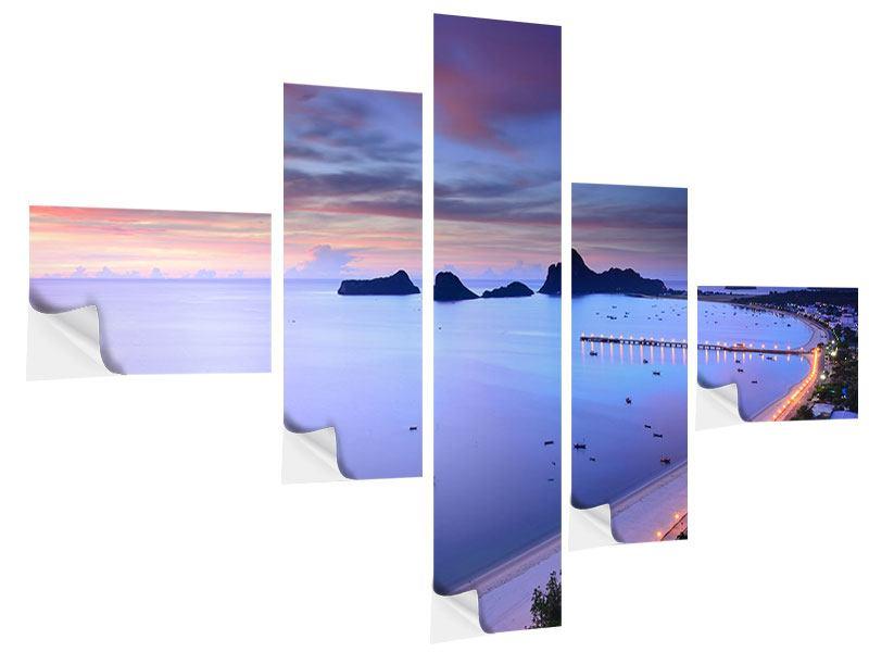 Klebeposter 5-teilig modern Ano Manao Bucht