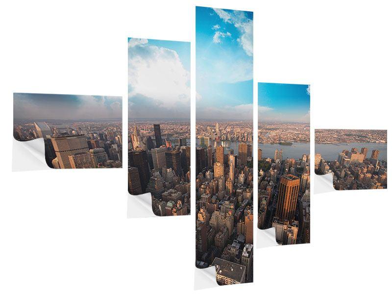 Klebeposter 5-teilig modern Skyline Über den Dächern von Manhattan