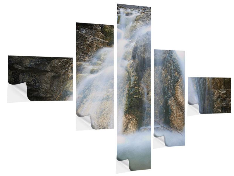 Klebeposter 5-teilig modern Imposanter Wasserfall