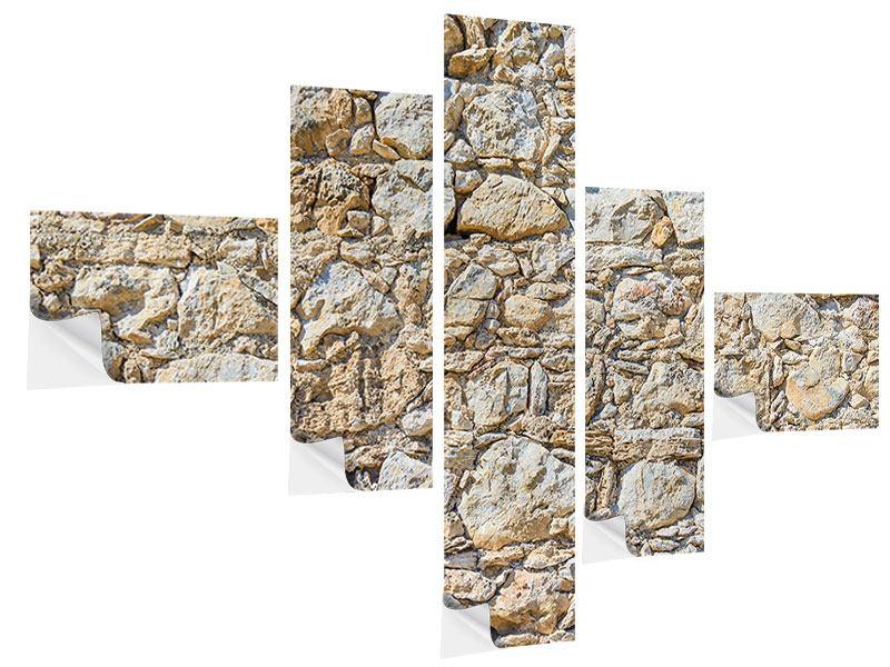 Klebeposter 5-teilig modern Sandsteinmauer