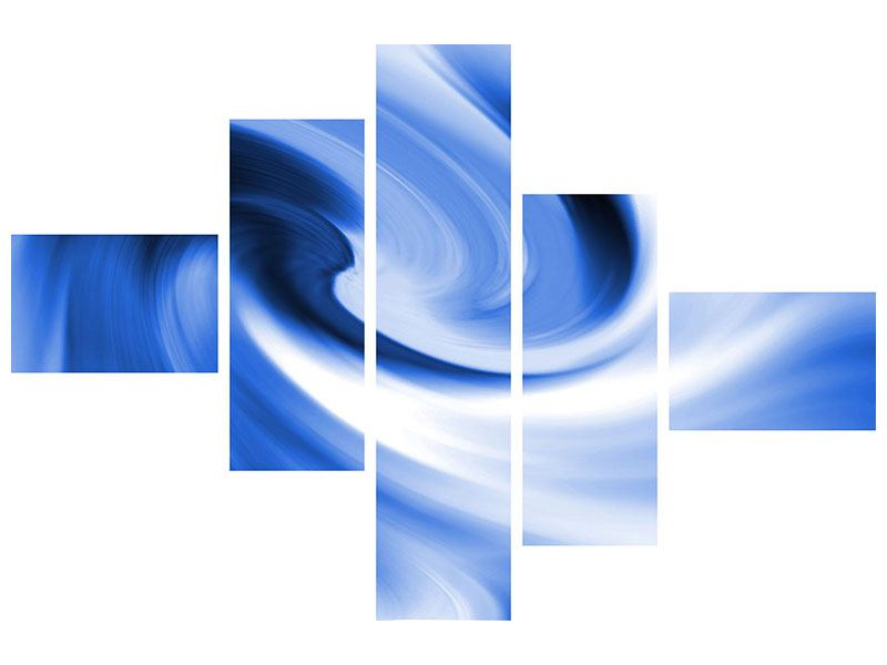 Klebeposter 5-teilig modern Abstrakte blaue Welle