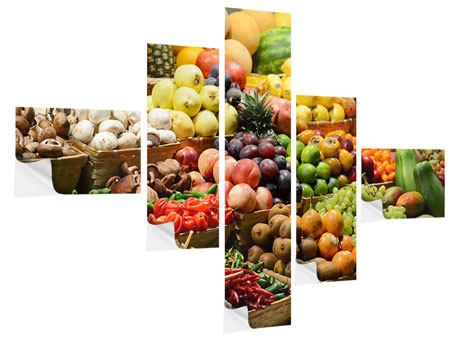 Klebeposter 5-teilig modern Obstmarkt