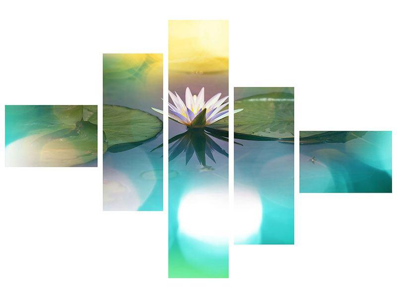 Klebeposter 5-teilig modern Lotus-Spiegelung