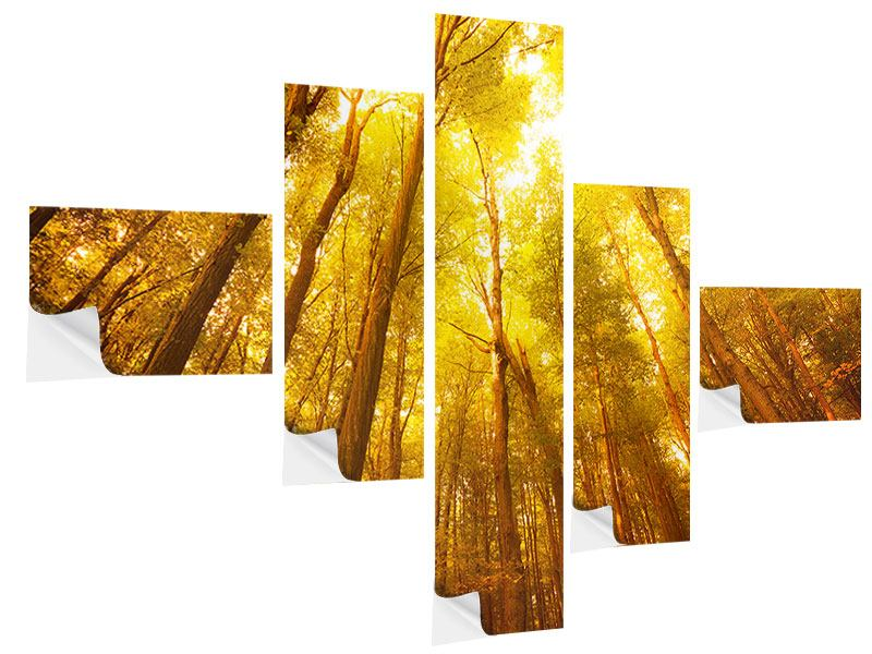 Klebeposter 5-teilig modern Herbstwald