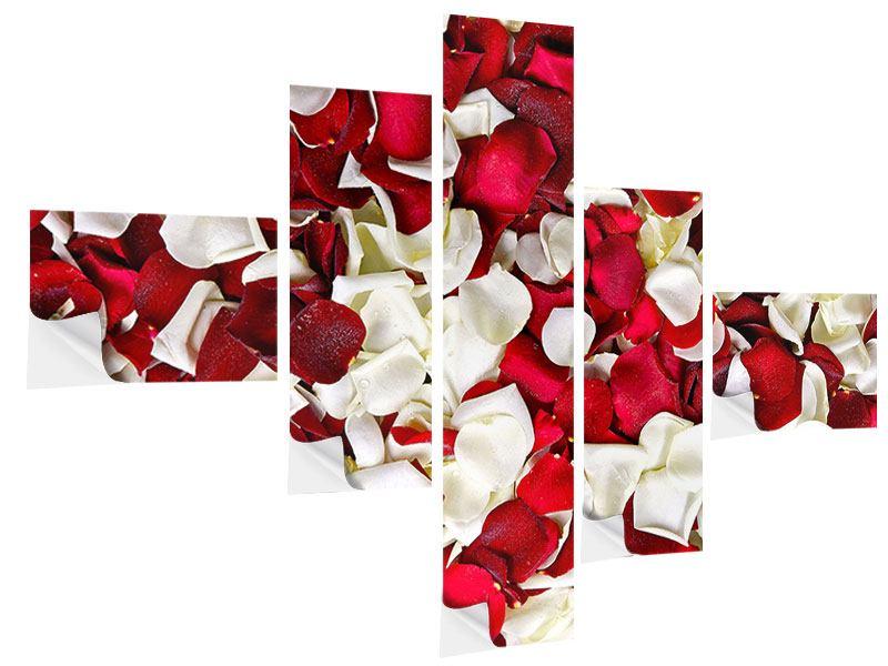 Klebeposter 5-teilig modern Rosenblätter