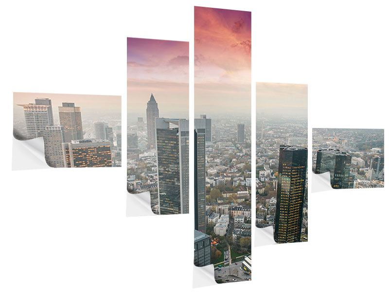 Klebeposter 5-teilig modern Skyline Penthouse in New York