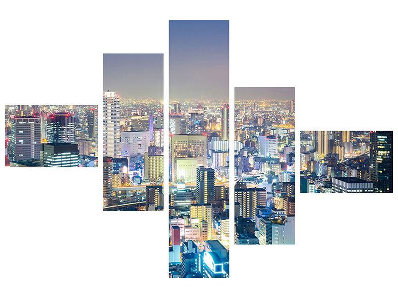 Klebeposter 5-teilig modern Skyline Osaka bei Sonnenuntergang