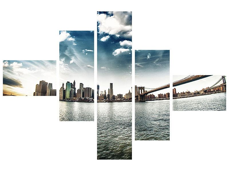 Klebeposter 5-teilig modern Brooklyn Bridge From The Other Side