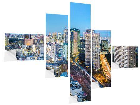 Klebeposter 5-teilig modern Skyline Tokio im Lichtermeer