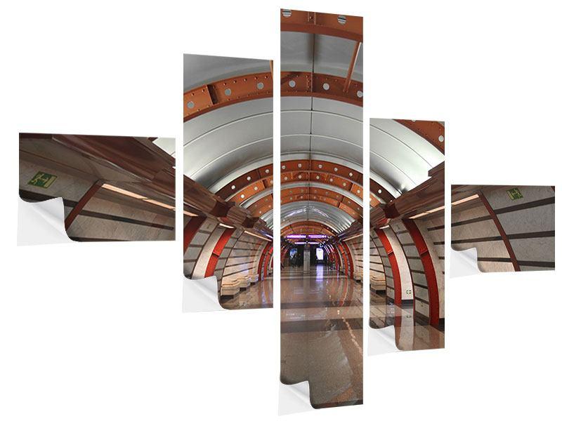 Klebeposter 5-teilig modern U-Bahn Station