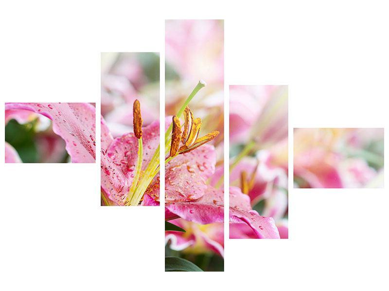 Klebeposter 5-teilig modern Lilien im Tau